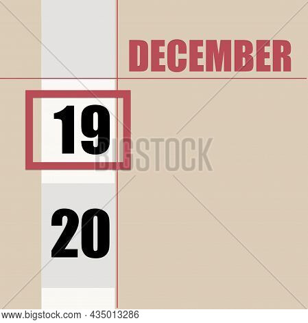 December 19. 19th Day Of Month, Calendar Date.beige Background With White Stripe And Red Square, Wit