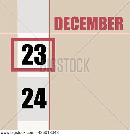 December 23. 23th Day Of Month, Calendar Date.beige Background With White Stripe And Red Square, Wit