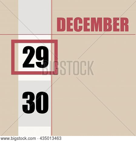December 29. 29th Day Of Month, Calendar Date.beige Background With White Stripe And Red Square, Wit