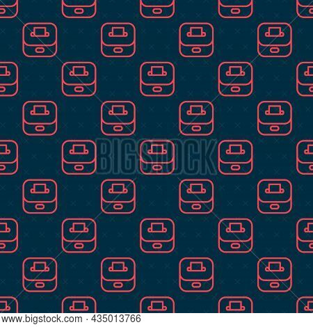 Red Line Vote Box Or Ballot Box With Envelope Icon Isolated Seamless Pattern On Black Background. Ve
