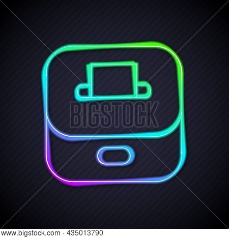 Glowing Neon Line Vote Box Or Ballot Box With Envelope Icon Isolated On Black Background. Vector