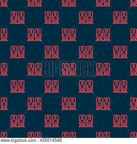 Red Line Stereo Speaker Icon Isolated Seamless Pattern On Black Background. Sound System Speakers. M