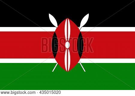 The National Flag Of Kenya Is A Country In East Africa With Coastline On The Indian Ocean.