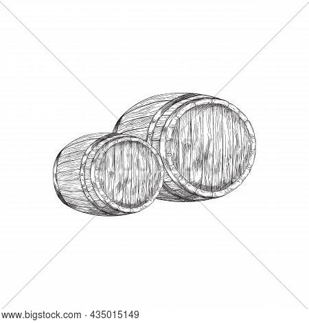 Wooden Barrels Or Kegs For Wine, Engraving Vector Illustration Isolated.