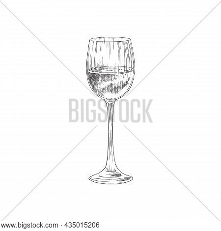 Glass With Grape Wine, Vintage Engraving Vector Illustration Isolated.