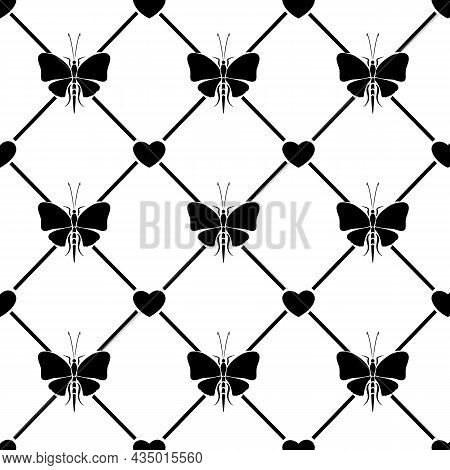 Pattern From Stencils Of Black Butterflies.black And White Seamless Vector Pattern With Butterflies