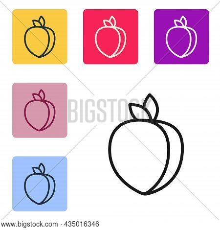 Black Line Plum Fruit Icon Isolated On White Background. Set Icons In Color Square Buttons. Vector