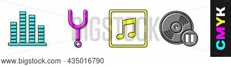 Set Music Equalizer, Musical Tuning Fork, Music Note, Tone And Vinyl Disk Icon. Vector