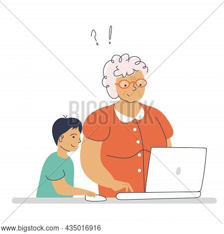Grandmother Learns To Work On A Laptop With The Help Of Her Grandson. Vector Illustration In Hand-dr
