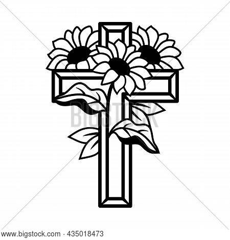 Vector Flower Cross, Religious Cross Decorated With Sunflowers, Faith Cross, Religious Vector Illust