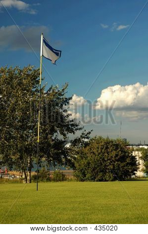 Golf Field With Flag