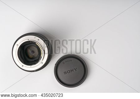 Moscow, Russia-october 2, 2021: Sony 50mm 1.8 Full Frame Lens On A White Background. You Can See The