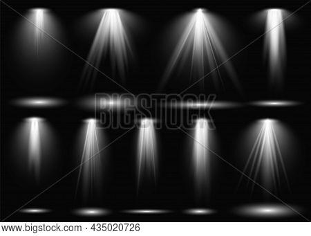 Light. Spotlight Stage Beam, Projection Studio Beams Of Light. Theater Scene, Concert Club, Presenta