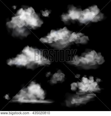Realistic Cloud. Fog White Clouds Collection, Fluffy Sky Fog Isolated On Black Sky Background, Smoke