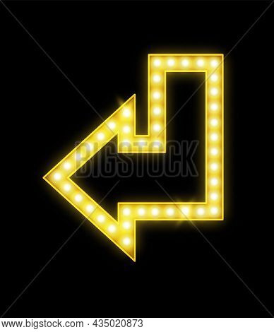 Realistic Arrow With Lamps. Glowing Neon Yellow Symbol. Retro Illuminated Bright Pointer, Electric V