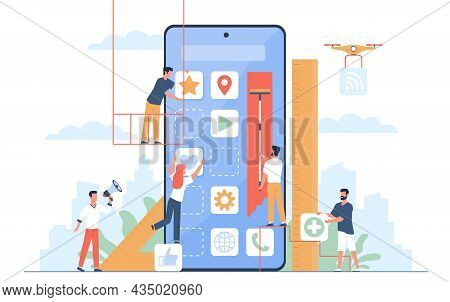 Mobile Application Build. Ui Designers And Programmers Group Create New Phone Software, Digital Deve