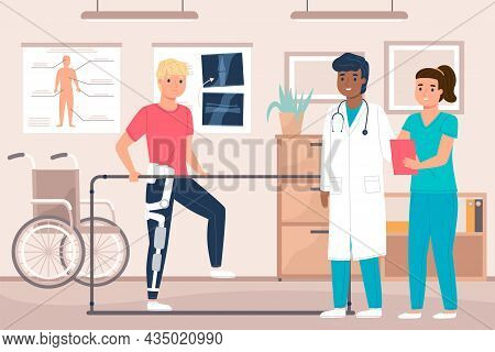 Physiotherapy Room. Therapist With Male Patient In Rehabilitation Office, Clinical Help, Man Develop