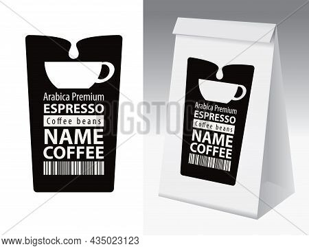 Black And White Paper Packaging With Label For Coffee Bean. A Vector Coffee Label With Cup, Barcode,