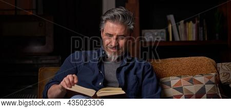 Happy man sitting on couch at home in cosy room reading book. Relaxing, leisure, education.  Portrait of mature age, middle age, mid adult man, bearded, smiling, authentic look.