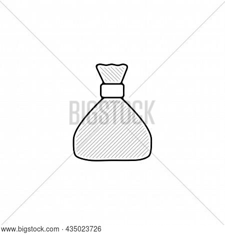 Money Pouch Bag Vector Thin Line Icon. Money Pouch Hand Drawn Thin Line Icon.
