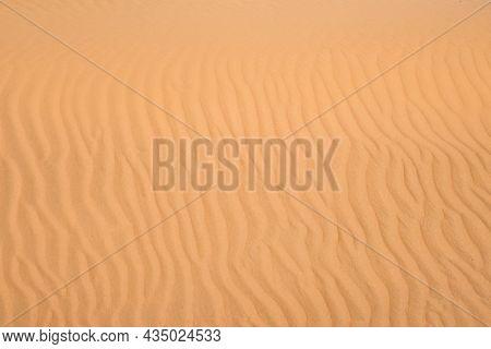 Ripple Sand Dunes Texture Background. Desert, Sandy Waves. Nature