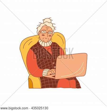 Happy Grandma Sits In A Chair Wearing Glasses With A Laptop. Colorful Vector Hand Drawn Isolated Ill