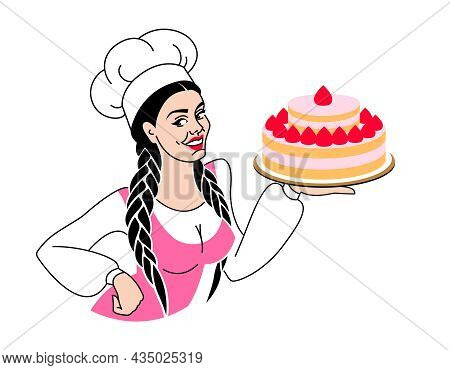 Woman Baker Smiling In Chef Hat With Cake, Pastries And Sweet Food, Vector Cartoon. Pastry Chef, Bak