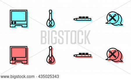 Set Line Drum And Drum Sticks, Voice Assistant, Guitar And Icon. Vector
