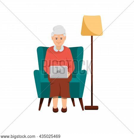Grandmother Sits In A Green Chair With A Laptop. There Is A Lamp Nearby. Flat Style. Isolated On A W
