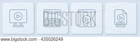 Set Line Online Play Video, , Video Recorder On Laptop And Mp4 File Document. White Square Button. V