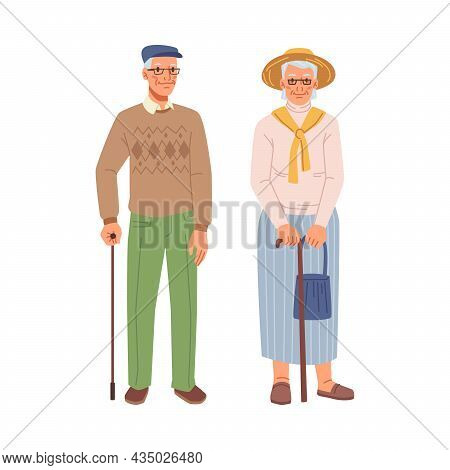 Happy Old People, Grandmother And Grandfather, Retired Pensioners With Sticks Isolated Flat Cartoon