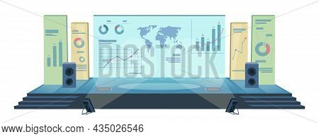 Conference Hall With Modern Stage Screen, Audience Isolated On White. Presentation Room Display, Aud