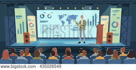 Modern Stage, Big Screen, Conference Speaker And Audience Flat Cartoon Background. Lecture Making Pr