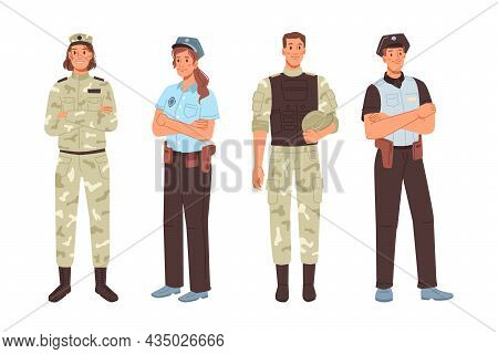 Police And Military Officer Isolated Men Women Cartoon Characters. Army Workers Professions Man And