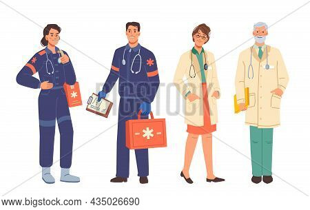 Doctors And Ambulance Workers Medical Staff, Man And Woman Flat Cartoon Characters Isolated. Nurse A