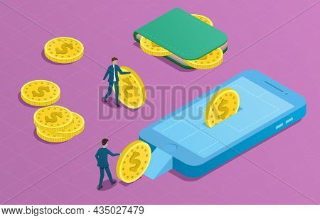 Online Wallet Isometric Concept. Two People Rolling Coins To Phone With Purse. Money Transfer From W