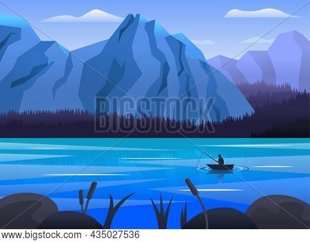 Beautiful Panoramic Landscape Of Blue Lake And Mountains. High Mountain Lake With Fisherman, Rocks A