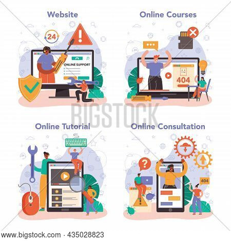 Technical Support Online Service Or Platform Set. Consultant Help