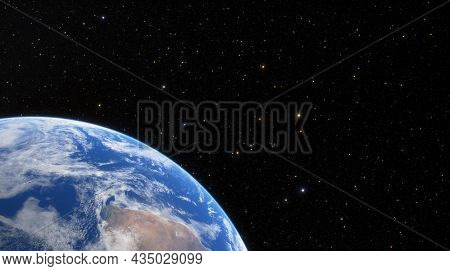Silhouette Of Planet Earth Against Background Of Stars And Milky Way Galaxy. Planet Earth Illuminate