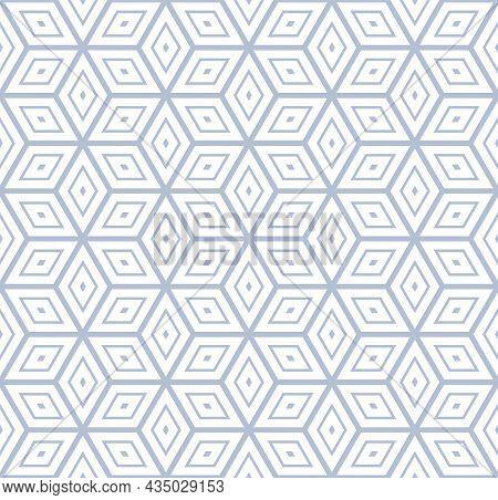 Seamless Geometric Diamonds And Hexagons Op Art Pattern. 3d Illusion Effect. Vector Illustration.
