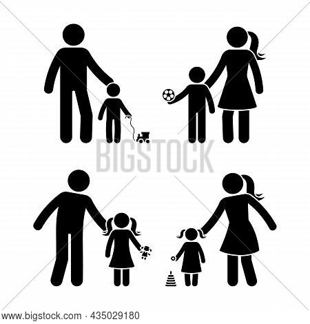 Stick Figure Family, Boy And Girl Playing Outside Vector Icon Illustration Set. Children, Kids, Son,