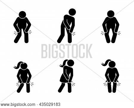 Stick Figure Man And Woman With Knee Pain Icon Vector Set. Sick Stickman Having Problem With Kneecap