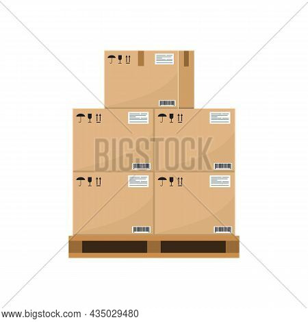 Crate Boxes On Wooden Pallet. Stack Of Cardboard Box For Warehouse Storage. Flat And Solid Color Vec