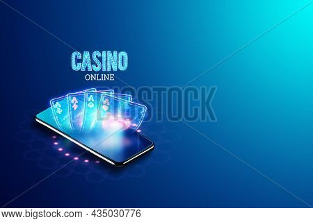 Concept For Online Casino, Gambling, Online Money Games, Bets. Smartphone And Neon Casino Sign, Roul