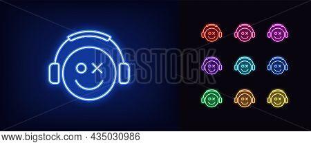 Outline Neon Gamer Icon. Glowing Neon Emoticon Gamer With Headphones, Esports Geek Logo. Gaming Emoj