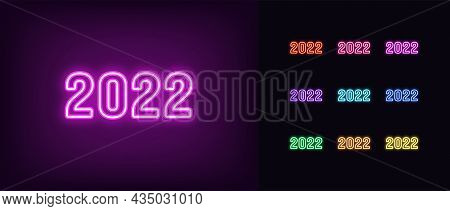 Outline Neon 2022 Year. Glowing Neon 2022 Icon, Numbers In Vivid Colors. Isolated Digits With Purple