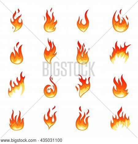 Cartoon Flame Collection. Hot Fire Flames, Isolated Glowing Red Heat. Heating Graphic Elements, Torc