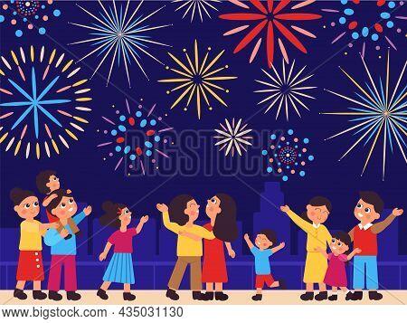 People On Fireworks. Night Firework, Celebrate Firecracker On Market. City Street Carnival, Street F