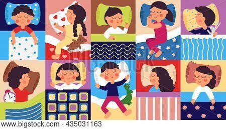Sleeping Kids. Peaceful Childhood, Kid Sleep In Home Bed. Bedtime, Cartoon Children Dreaming With To
