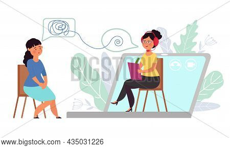 Online Therapist. Internet Communication, Psychological Counselling Virtual. Medical Treatment, Web